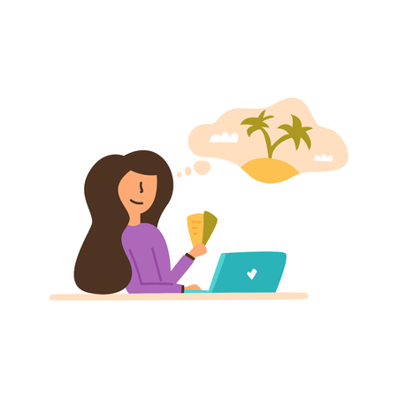 Vector Flat girl holds in hands two plane tickets. Chooses on a laptop in which country to relax and spend working holidays. Banque d'images - 123831044