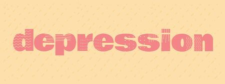 poster writting depression lettering cartoon flat. on orange soothing background with dotted line bulk pink letters and with different stripes, waves, peas, patterns on each letter