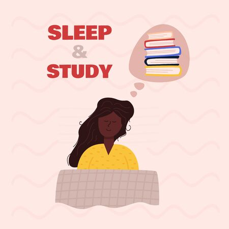image sleeping girl with long chestnut hair and dark skin lying under checkered blanket on pillow, dreaming, remembering, thinking about learning and varied books with smile on face. cartoon flat Vettoriali