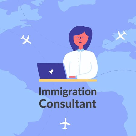 Advertising poster words immigration consultant. Happy woman sitting  table near computer gives advice immigration issues. Planes different countries fly against world map. Cartoon style image. Vector