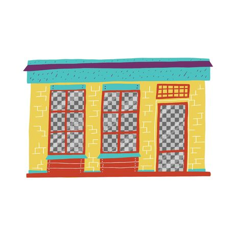 Window with large transparent windows close. building with counters for successful sale.