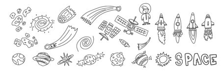Informational flyer hand drawn set space objects. Different types missiles for flight. Satellites to transmit information. Planets and other space objects. Meteorites and comets flying into void.