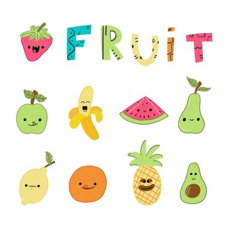 banner set fruit cheerful kawaii styled cartoon. advertising poster with inscription fruits. juicy summer useful multi-colored fruits. Colorful funny Kawai laugh and have fun. vector illustration.