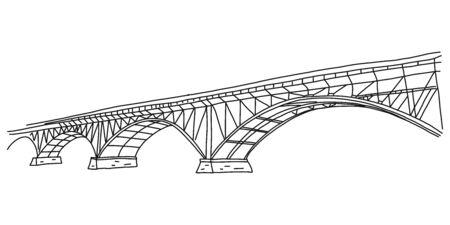 Informational flyer simple quick sketch bridge. Ilustrace