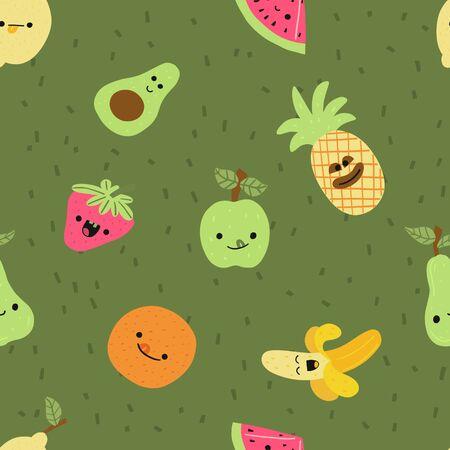 Bright banner seamless pattern fruit, cartoon. Иллюстрация