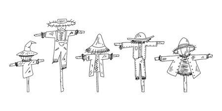 Advertising flyer set scarecrow sketch hand drawn. Ilustración de vector