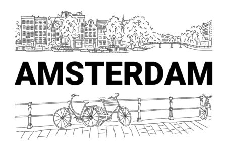 Bright banner flyer sketch inscription Amsterdam. City by river. Beautiful promenade. Bicycles for walk along river. Beautiful buildings with lush trees. Hand drawn quick sketch. Vector illustration. Banque d'images - 129474574