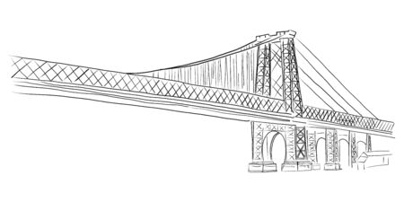 Advertising poster sketch, hand drawn bridge.