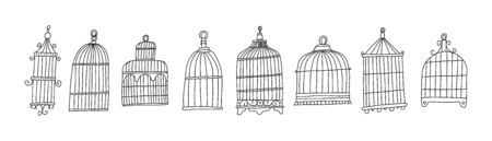 Bright poster set cage bird sketch hand drawn.