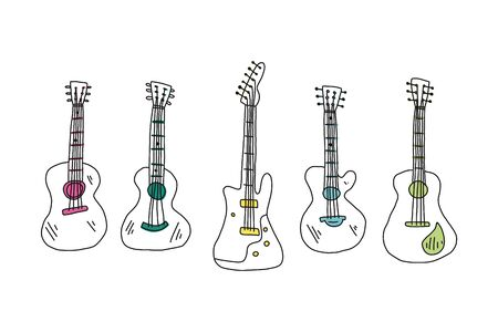 Informative flyer set hand drawn guitar acoustic. Sketch different types acoustic guitars. Stringed musical instrument. Modern pop and flock guitar. Vector illustration.