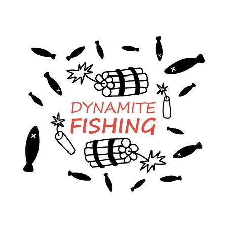 Advertising flyer inscription dynamite fishing.