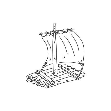 Advertising banner sketch wooden raft hand drawn.