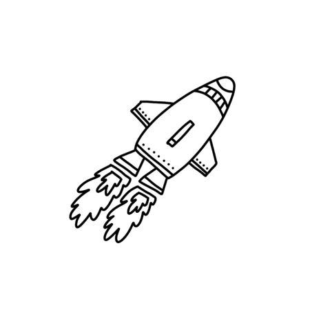 Advertising flyer, flying rocket cartoon style.