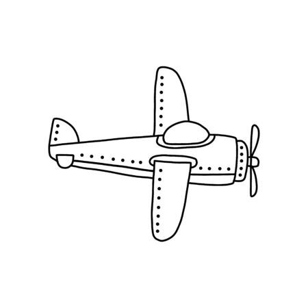 bright banner small plane with one propeller. drawn cartoon design black bold pencil, aircraft for one pilot with engine, two wings perimeter small black dot, soaring liner low above ground. 일러스트
