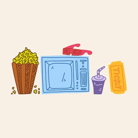 Bright poster watching television, cartoon flat. Set hand-drawn simple retro tv for watching movies. Home cinema. Popcorn and drink for enjoyable watching movies. Glasses for viewing in 3D. Illustration