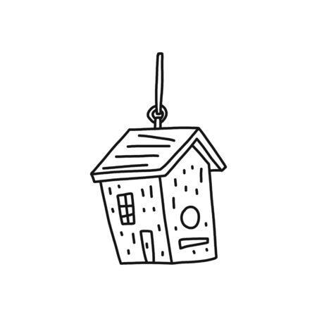 Informational poster birdhouse sketch hand drawn. Closed, artificial nesting for small birds. Hanging house for birds. Vector illustration.