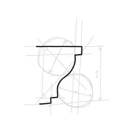 Informative poster sketch moulding hand drawn. Gives surface more expressive and neat look. Decorative part in form laid-on convex plank for decorating various surfaces. Vector illustration. Иллюстрация