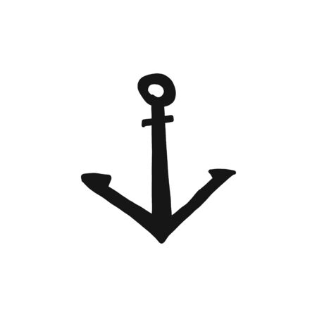 Informative banner hand-drawn silhouette anchor. Object special form. Cast forged or welded construction. Designed to hold ships. Vector illustration. Banque d'images - 132124622
