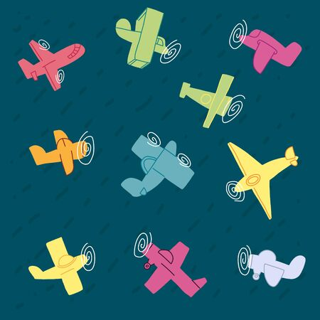 Informative poster set hand drawn plane, cartoon. Beautiful simple childrens propeller airplanes. Variety aircraft flying in different directions. Quick sketch. Vector illustration. Ilustração