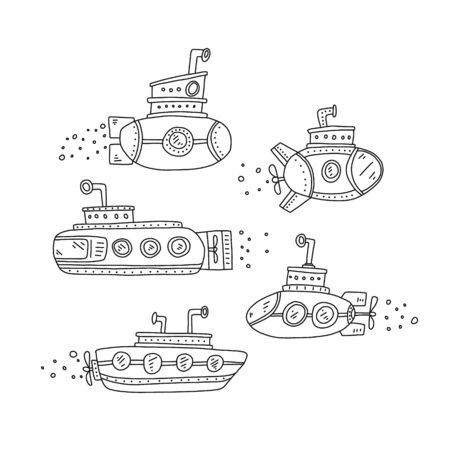 Advertising poster set submarine quick sketch. Submarine hand drawn in various shapes and sizes. Childrens drawing. Coloring book for children. Class ships capable diving for long time under water.