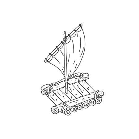 Dépliant informatif croquis bois radeau dessiné à la main. Radeau de rondins de bois interconnectés. Artisanat en bois attaché à la corde. Petit mât à voile simple. Appareil de natation. Illustration vectorielle.