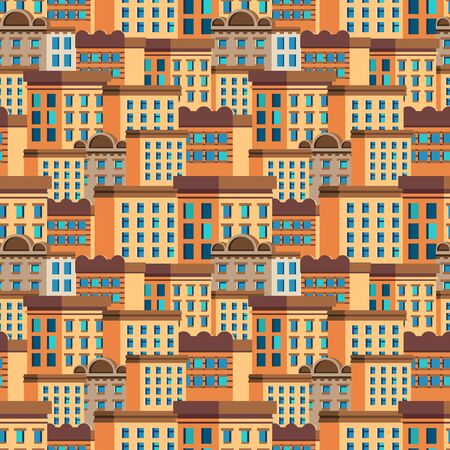 Bright banner seamless pattern hand-drawn houses.