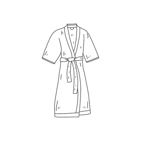 Informative banner, hand-drawn bathrobe, cartoon. Home simple clothes. Comfortable warm bathrobe. Quick sketch clothes from black lines. Vector illustration. Vettoriali