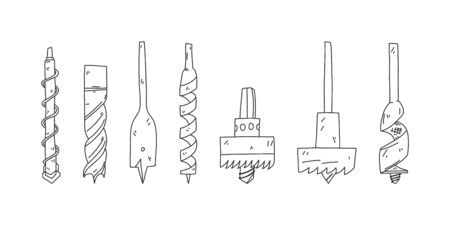 Bright flyer set sketch drill bit hand drawn. Drills for punch, different types and purpose. Drills for working with different materials. Tool for drilling concrete iron and wood. Vector illustration.