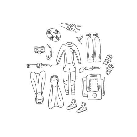 Advertising banner hand drawn scuba gear cartoon. Ilustracja
