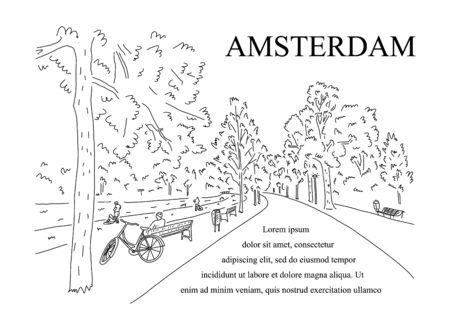 Advertising poster sketch park in city Amsterdam.