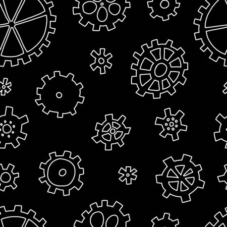 Advertising banner seamless pattern sketch gears. Illusztráció
