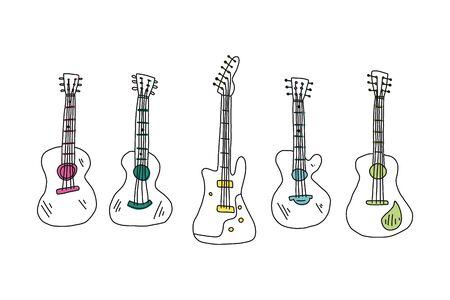 Informative flyer set hand drawn guitar acoustic.