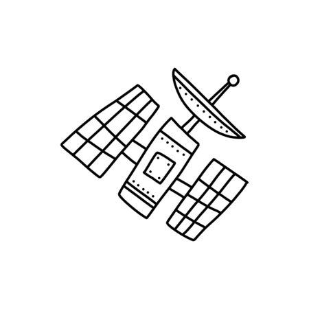 Information banner image space satellite cartoon.