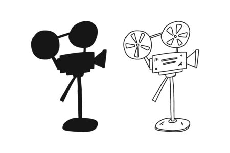 Informative poster hand drawn movie camera sketch. Black silhouette and contour with hand-drawn film line retro cinecamera with line. Mechanism for shooting films. Vector illustration.