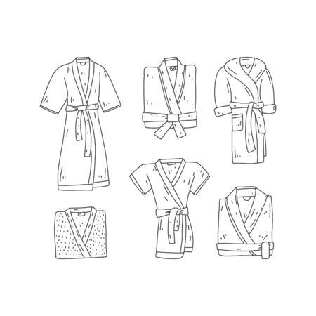 Ensemble d'affiches lumineuses peignoir dessinés à la main, dessin animé. Définir différentes robes simples avec ceinture. Des vêtements simples. Peignoir chaud fait maison. Des vêtements confortables et adaptés. Illustration vectorielle.