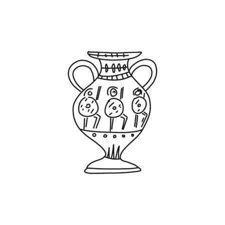 Informational poster quick sketch greek amphora. Sketch is ancient vase Greek culture. Images warriors painted on ancient Greek amphora. Rare valuable antiques. Vector illustration. Vectores