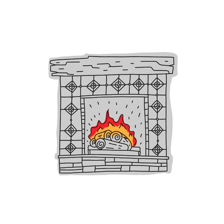 Informational banner sketch fireplace hand drawn. Vintage style fireplace. Burning logs on fire. Simple design for decoration and space heating. Cozy home hearth Vector illustration.