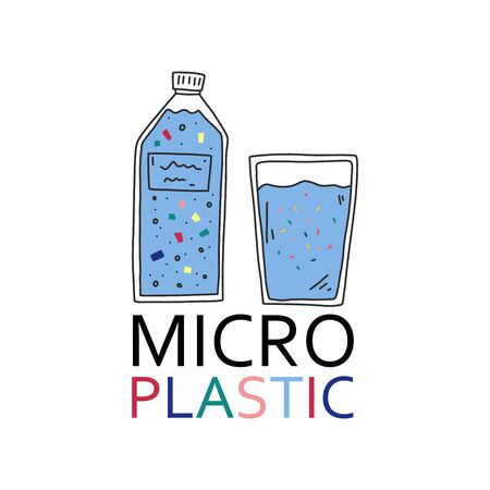 Advertising banner inscription micro plastic. Bottle drinking water store. Liquid in plastic bottle. Water in glass containing microplastic particles. Dangerous for health. Vector illustration.