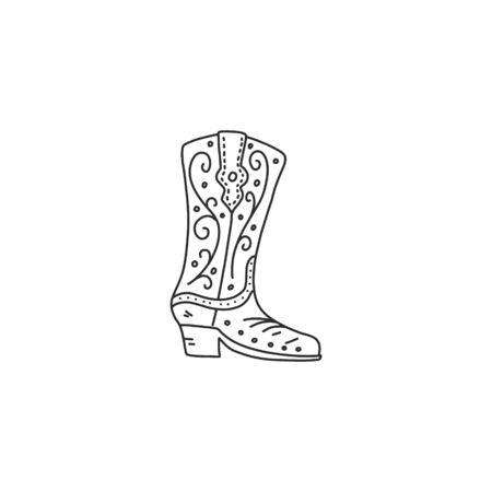 Bright poster quick sketch cowboy boot hand-drawn. Shoes with beautiful ornament pattern. Product is made durable high-quality leather. Cowboy boot with leather strap. Vector illustration Иллюстрация