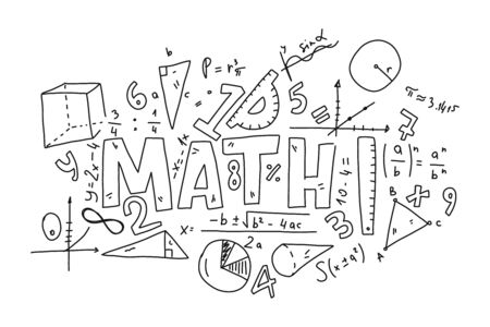 Informational poster set doodle inscription math. Various mathematical formulas. Algebraic calculations. To geometric shapes and computational formulas. Tools for calculating lengths and degrees. Иллюстрация