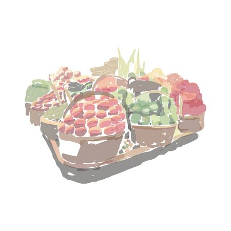 Illustration basket fruits and vegetables pallet. Price tags hang on basket. Green products department. Red and green organic food for ahealthy diet. Vegan assortment product. Digital illustration.