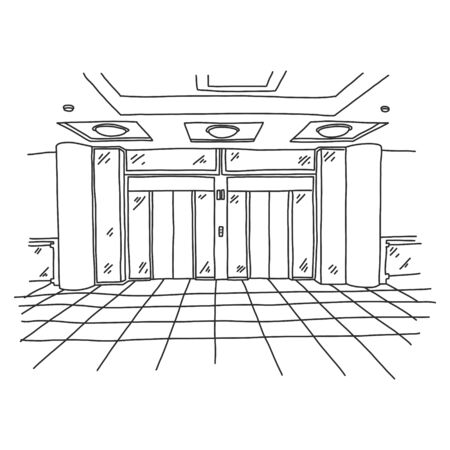 Spacious modern elevator in shopping center. Large lifting gear in lobby building. On floor there is square tile. Vector illustration on white background. There are lighting devices on ceiling. Иллюстрация