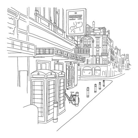 stylish banner sketch London street hand drawn. beautiful view street, low residential buildings and offices. Bicycles stand in parking lot near buildings near road. vector illustration.