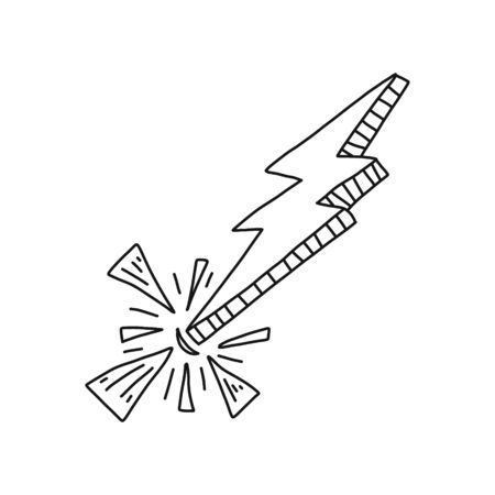 Cognitive poster lightning, strike spark art. Powerful natural phenomenon, thunderstorm beats bright fragments flying, Drawing close-up style with black pencil uneven edges zigzag view.