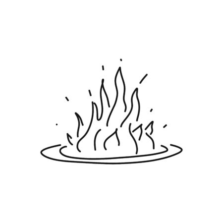 informative flyer fire sketch hand drawn flame. large flame with fiercely rounded border, flames distinctly pronounced cartoon sketching black bold accent. danger fire comfort heat.