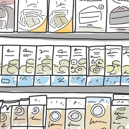 Vector illustration sketch display products store. Wide selection pastries in hypermarket. Commercially successful display goods in department supermarket. Digital illustration, cartoon.