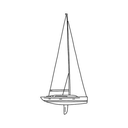 Projet de yacht exclusif à bannière plate, dessin animé. Navire léger et rapide pour le transport de particuliers, équipé d'un pont et d'une cabine. Navire destiné à des fins sportives ou touristiques et de loisirs.