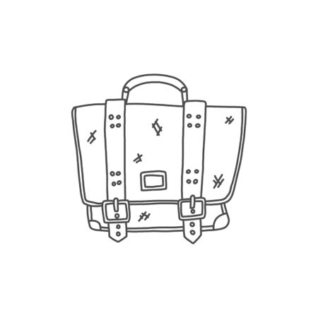 Stylish poster, briefcase hand drawn sketch case. A narrow rectangular bag with rounded corners. Male or female leather accessories. Иллюстрация