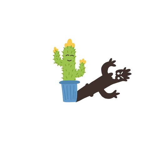 Informative flyer small flowering cactus shadow. Desert plant flower spikes, planted pot, sketching cartoon style colorful shades childhood, reflection side fright surprise fun art.