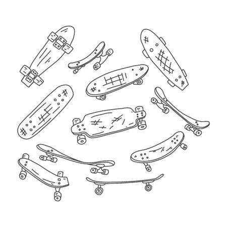 Flyer skateboard hand drawn skate sketch boards. Figure skating on a special board with four rollers. Sports equipment for youth hobbies. Vector illustration